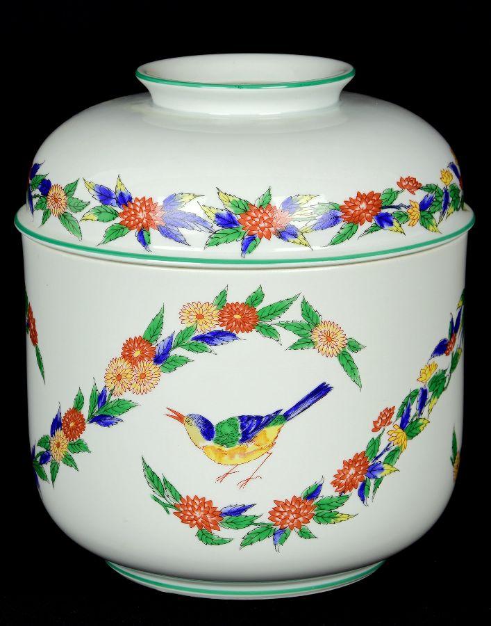 Grande pote com tampa em porcelana Vista Alegre