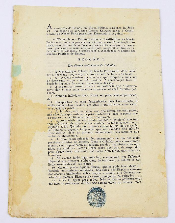 Bases da 1ª Constituição Portuguesa 1821