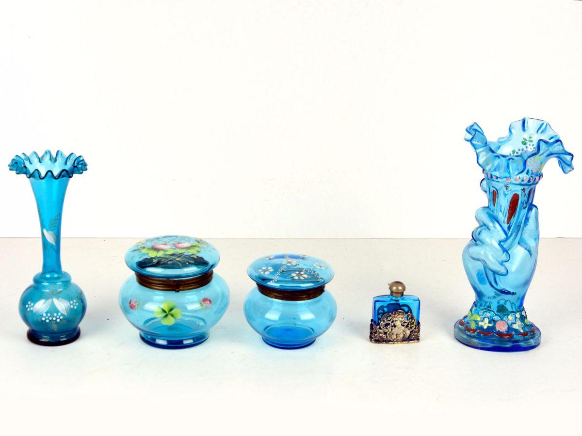 5 Peças em vidro azul