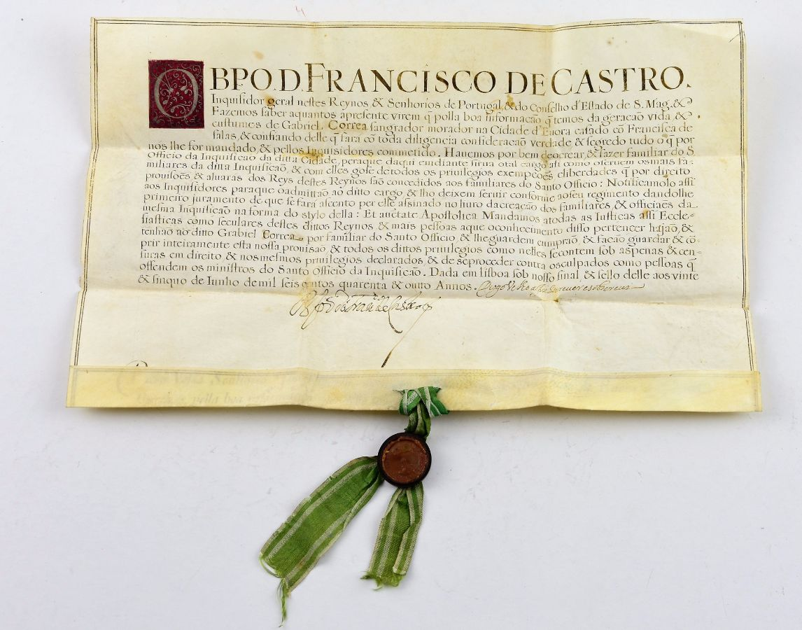 INQUISIÇÃO- PERGAMINHO. 1648.