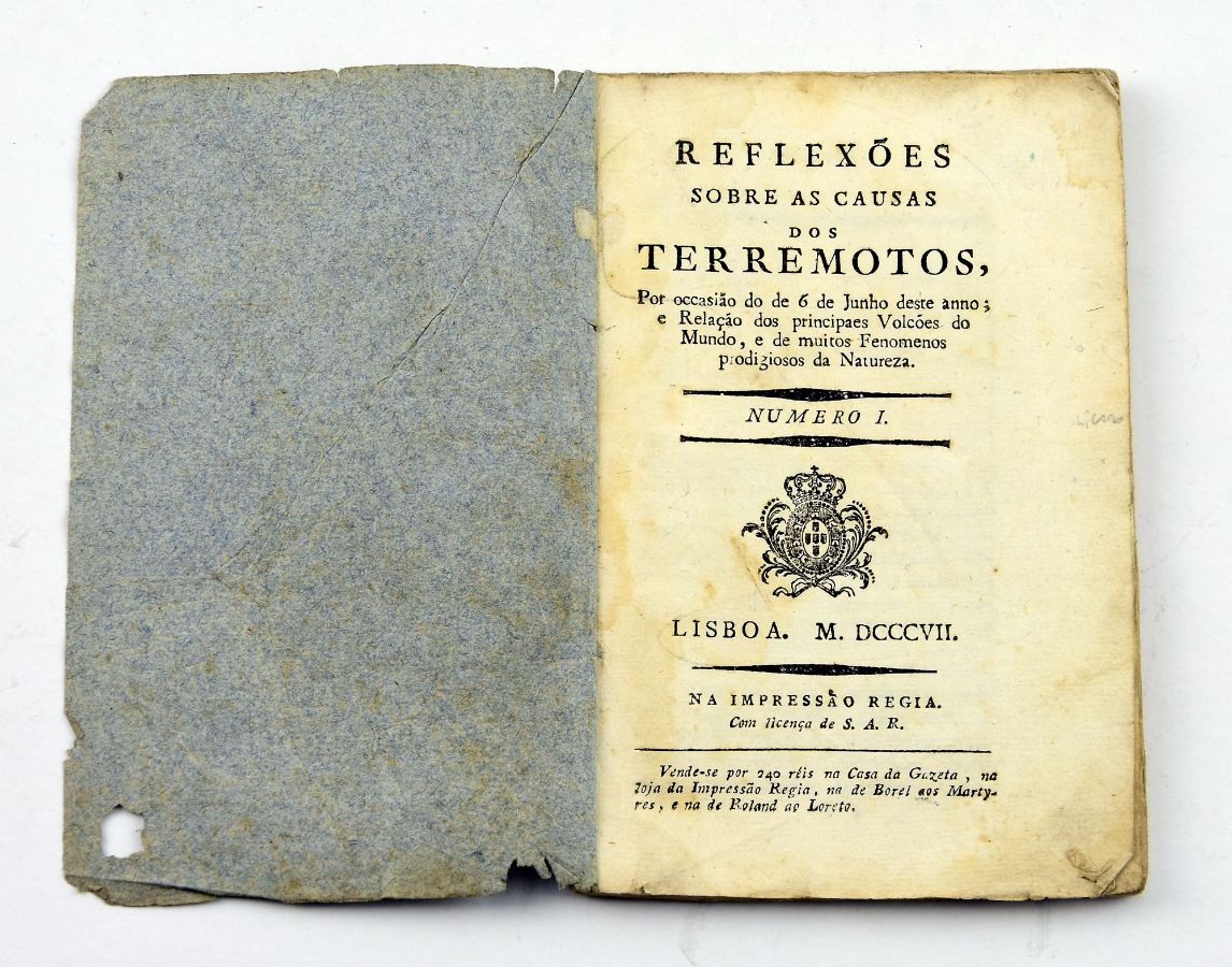 REFLEXÕES SOBRE AS CAUSAS DOS TERREMOTOS. 1807