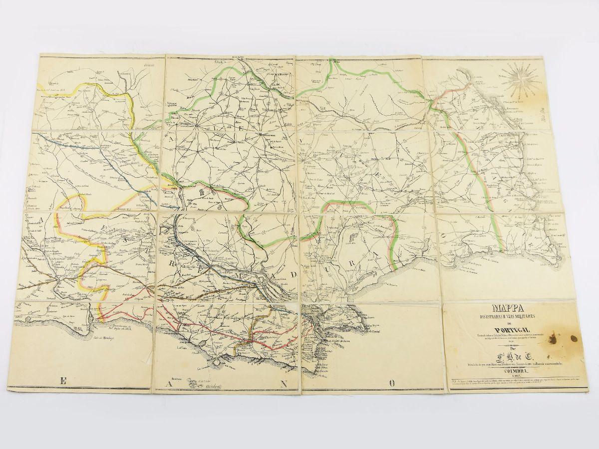 MAPA DAS ESTRADAS E VIAS MILITARES DE PORTUGAL. 1847.