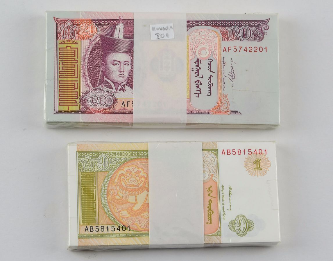 Conjunto de 2 maços de notas novas originais e seladas da Mongólia