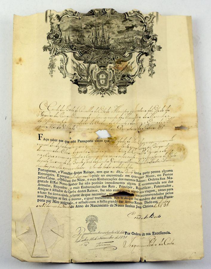 Passaporte armas de Portugal, séc. XIX