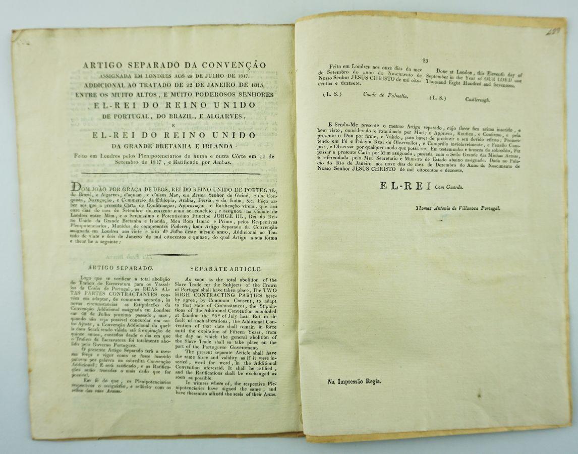 Abolição da escravatura – rara edição brasileira (1815)