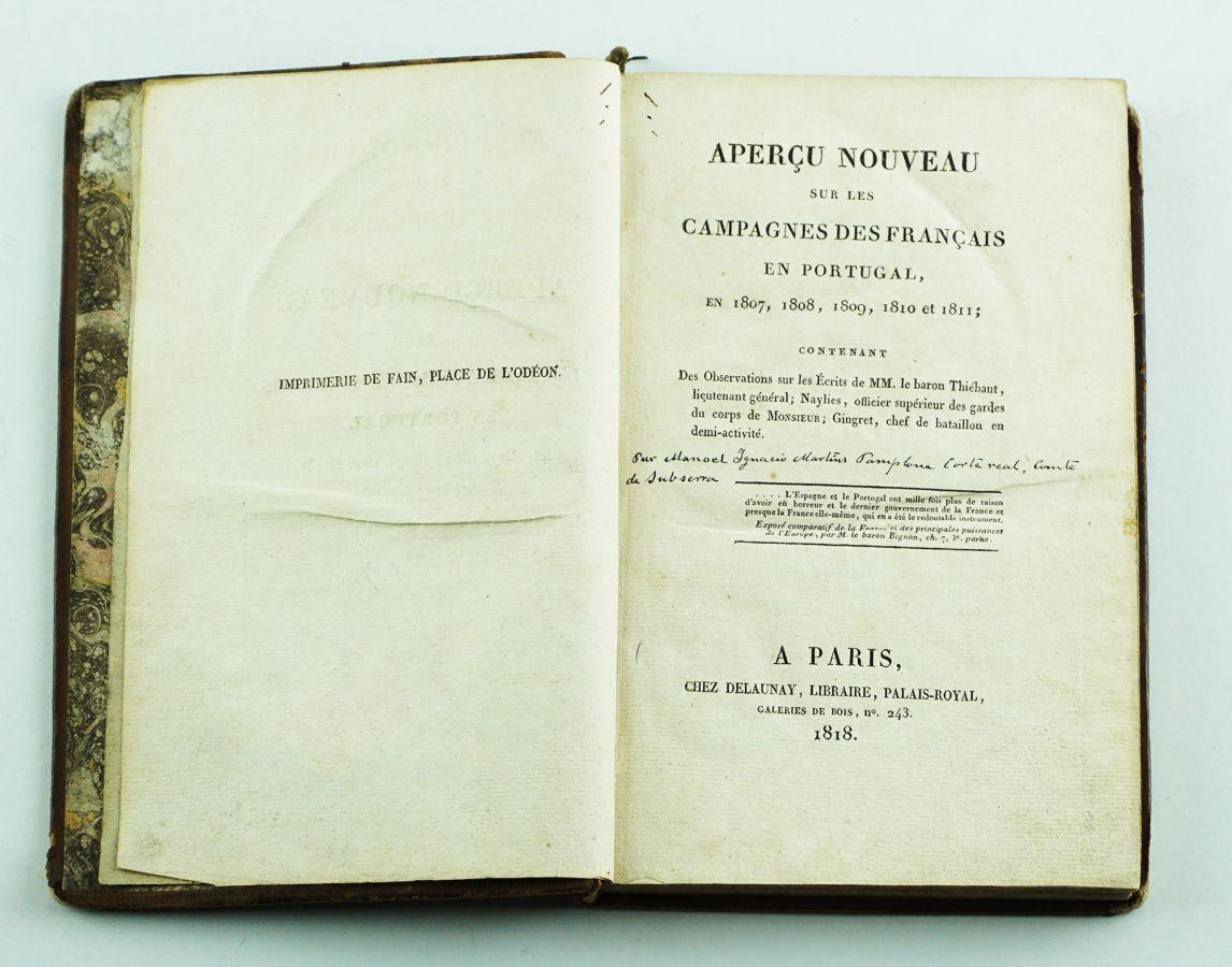 Raro livro do general Pamplona sobre a Guerra Peninsular (1818)