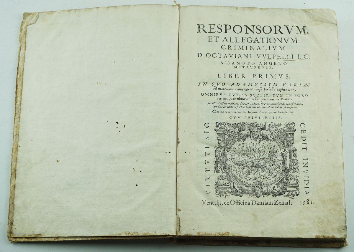 Responsorum et allegationum criminalium, 1581