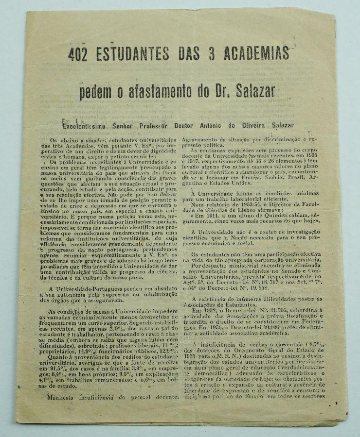 402 Estudantes universitários pedem a demissão de Salazar (1959)