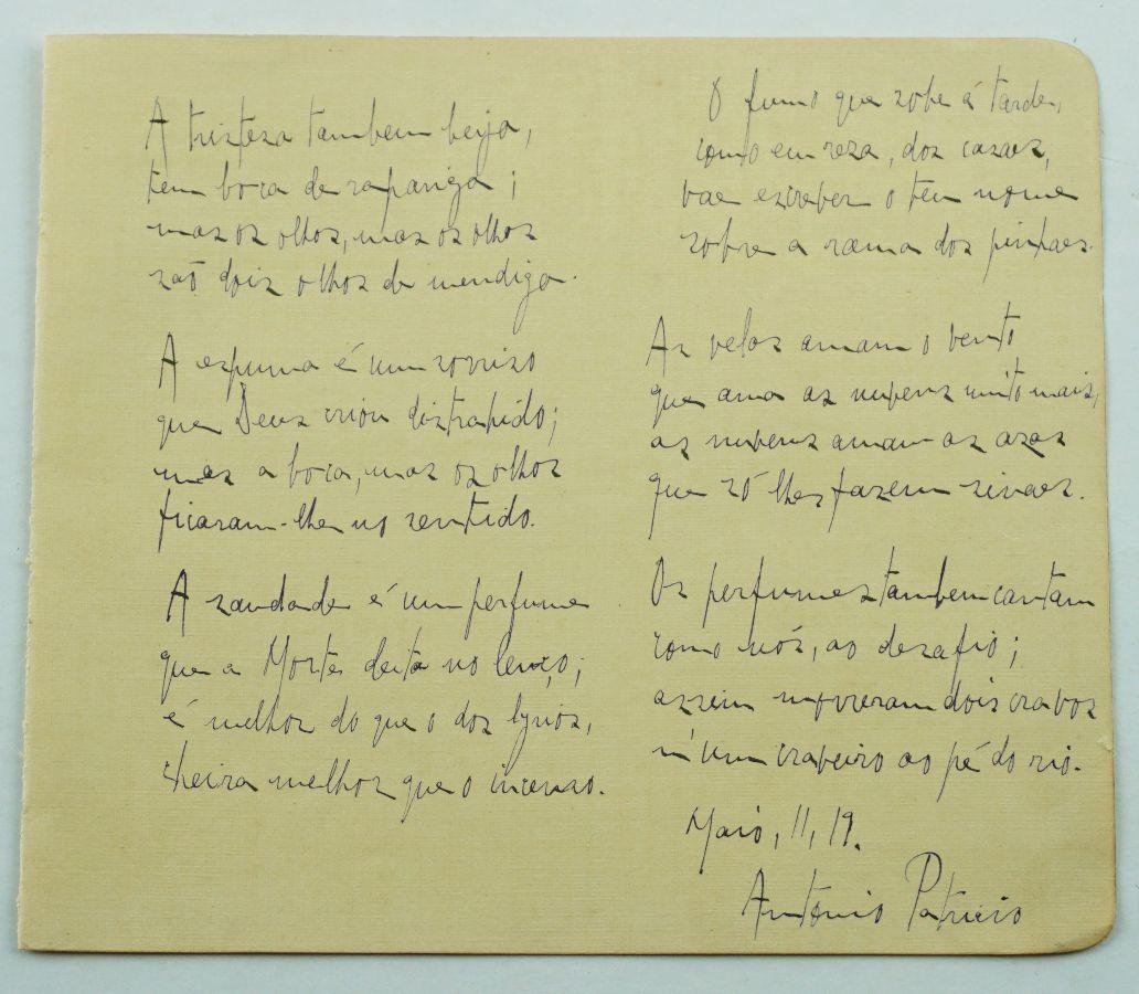 António Patrício - Poema Manuscrito
