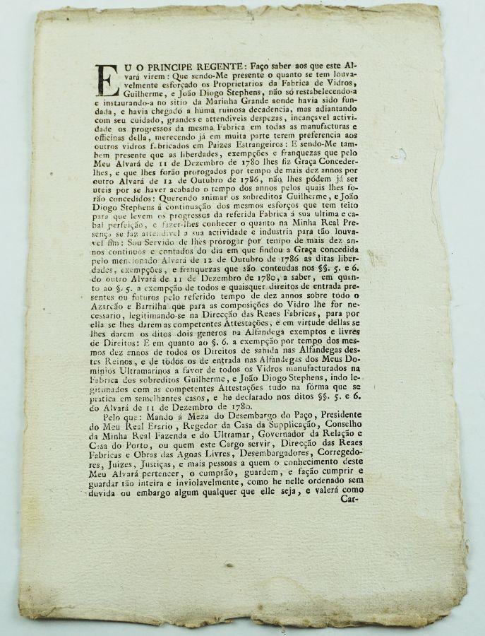 Fábrica de Vidros Marinha Grande, Séc. XVIII