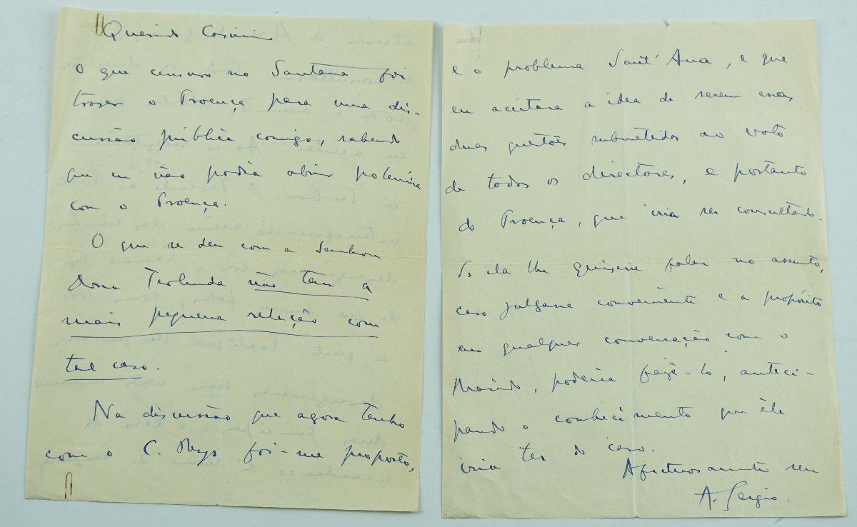 António Sérgio – carta inédita para Augusto Casimiro