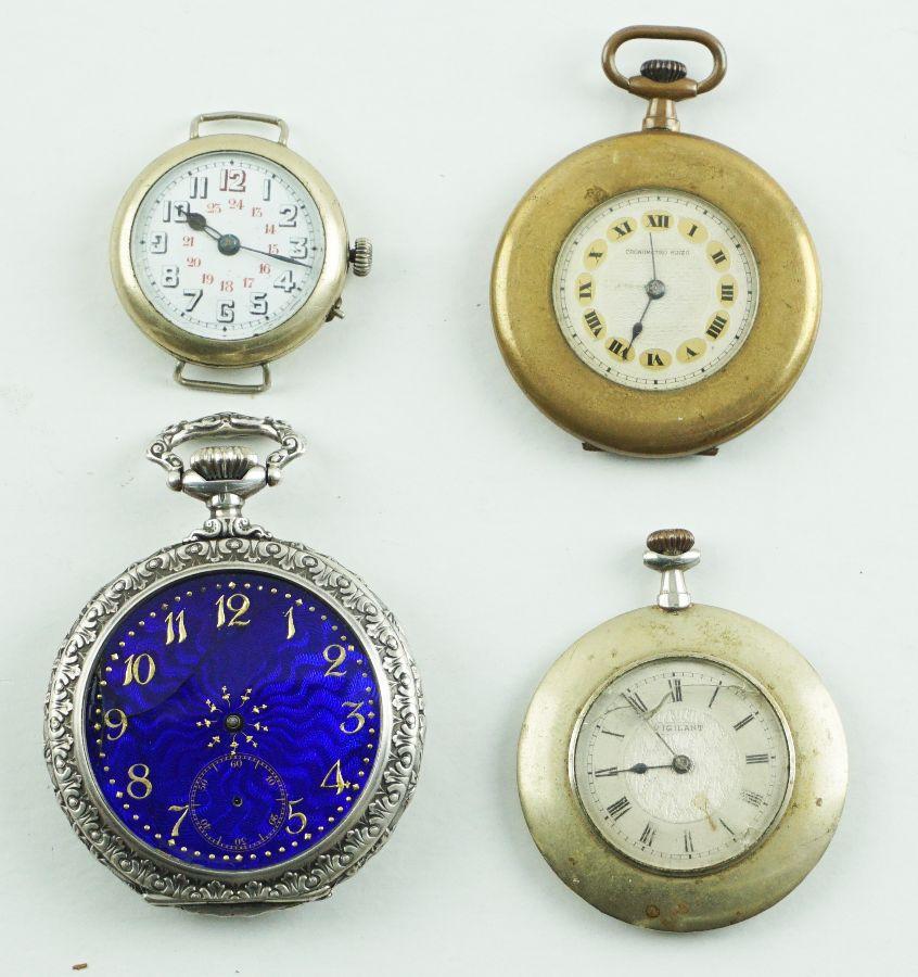 3 Relógios de bolso e um relógio de pulso