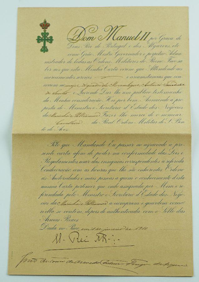 Carta Régia, de Cavaleiro da Ordem de Avis assinada por D. Manuel II (1910)