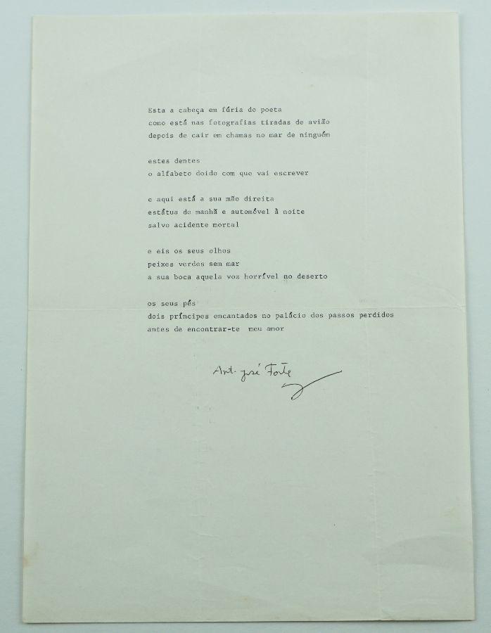 António José Forte - Poema dactilografado e assinado
