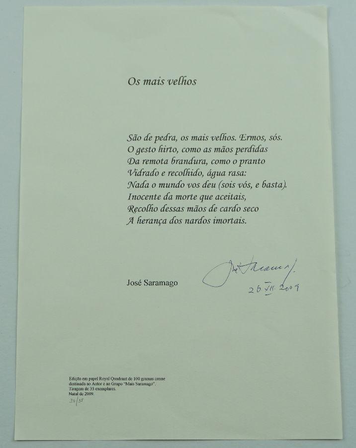 José Saramago – Poema assinado
