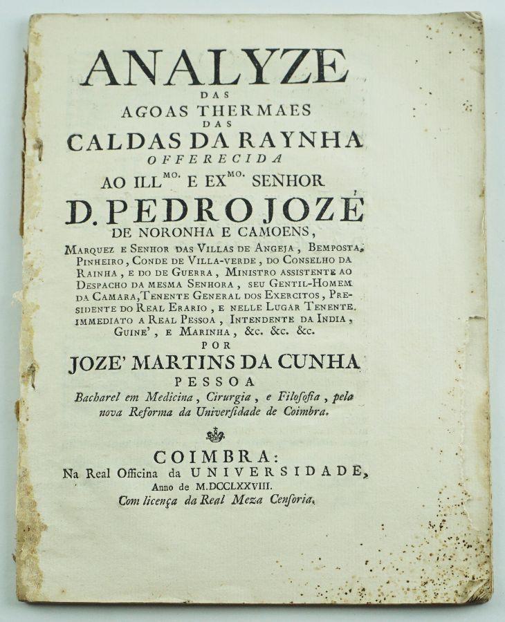 ÁGUAS TERMAIS DAS CALDAS DA RAÍNHA. 1788.