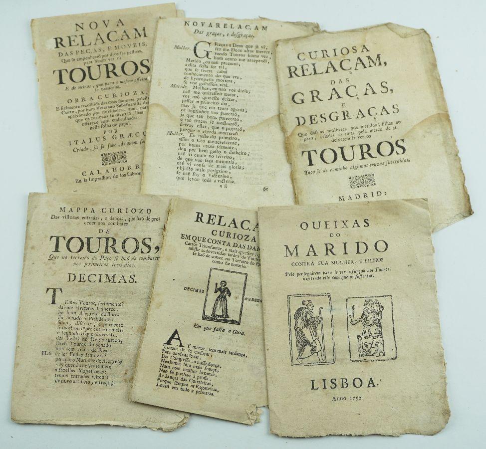 TOUROS E TOURADAS – FOLHETOS DE CORDEL – SÉCULO XVIII.