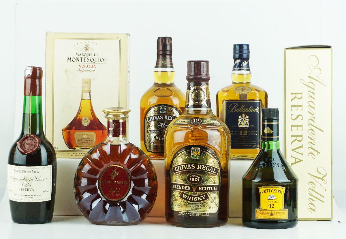 Whisky, Aguardente e Cognac (8 Garrafas)