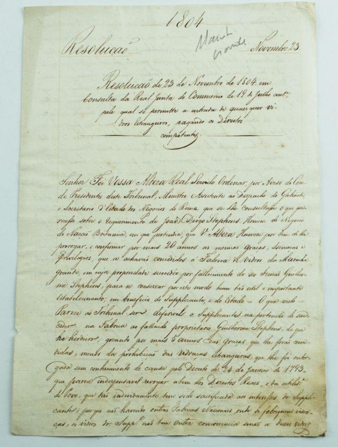 Manuscrito 1804 Fabrica de Vidros da Marinha Grande