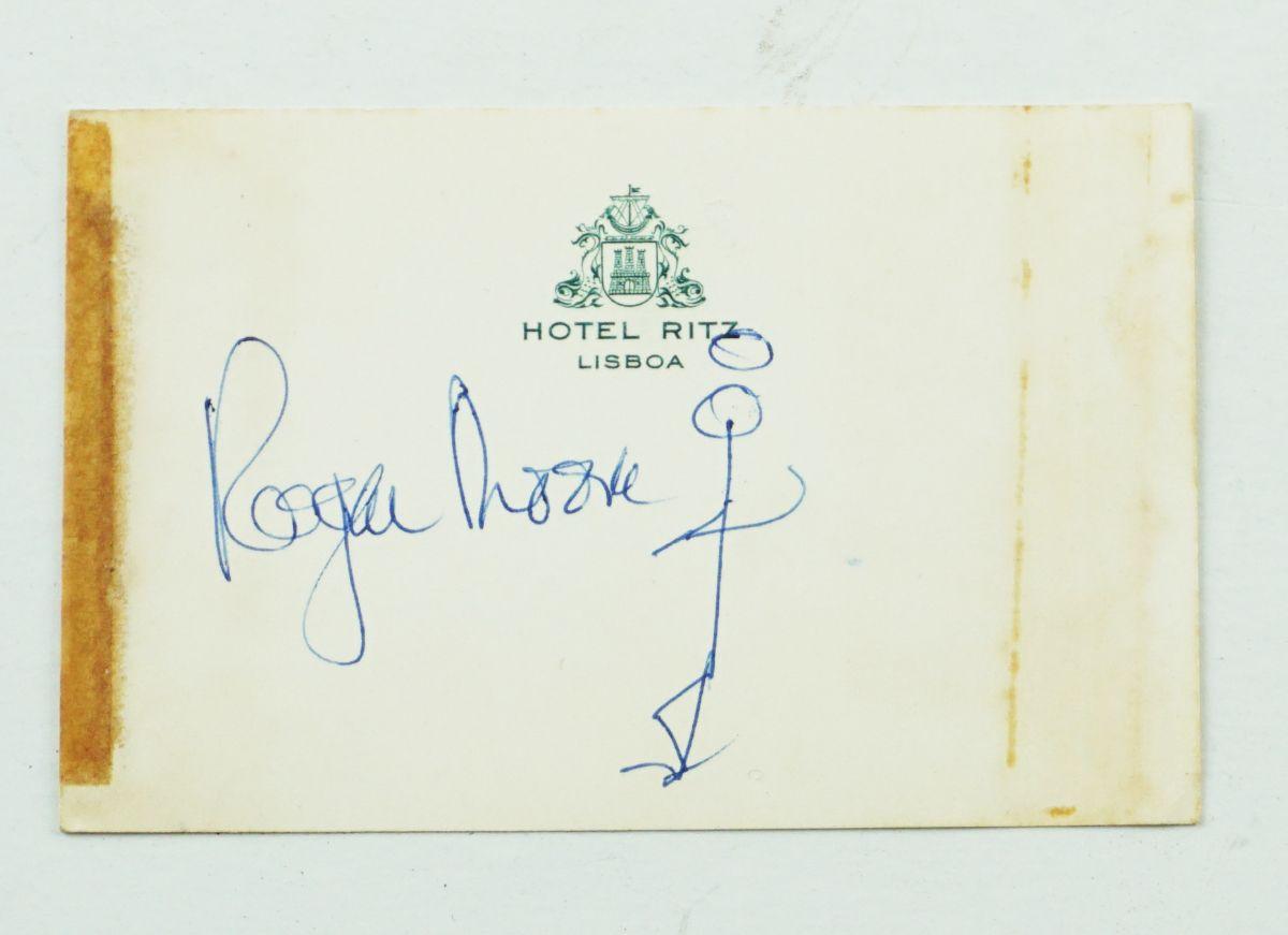 Roger Moore - cartão manuscrito