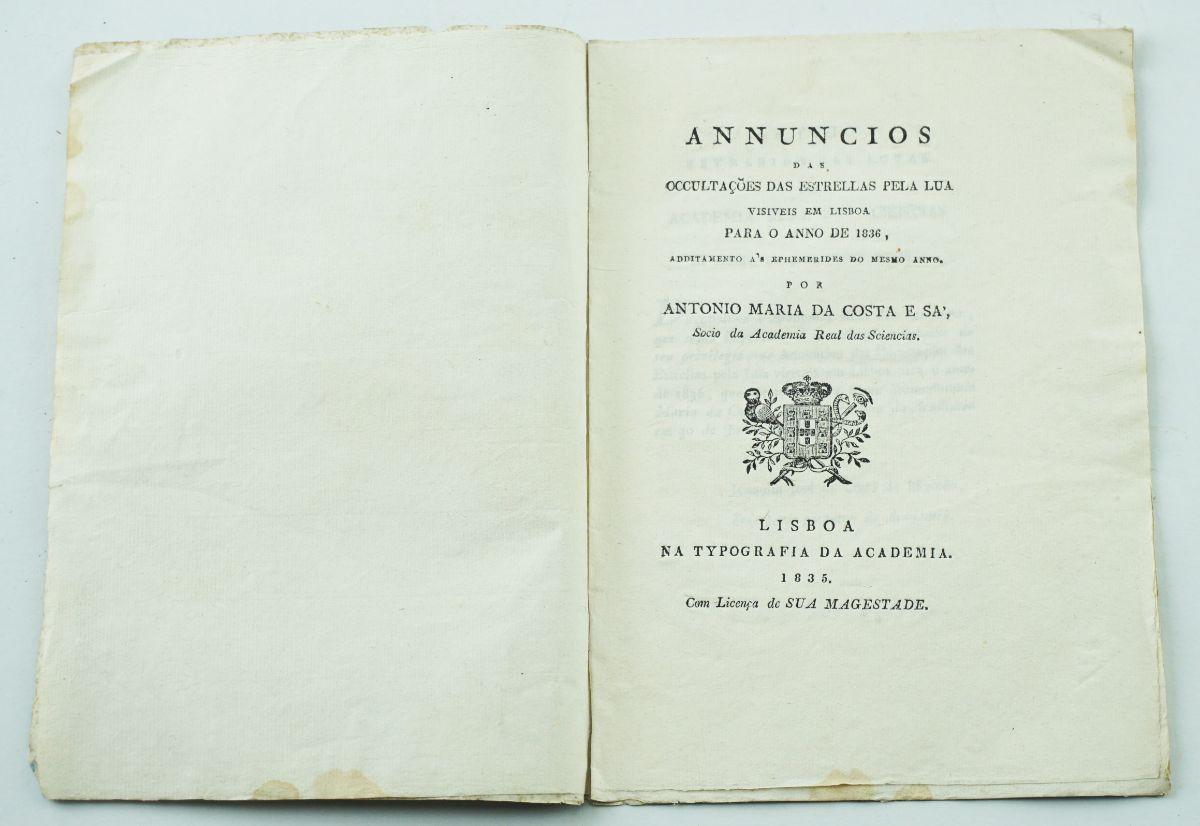 Annuncios das ocultações das estrellas pela Lua visíveis em Lisboa, 1835