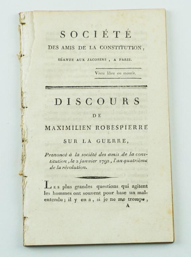 Robespierre – 1ª edição de um dos seus discursos (1792)