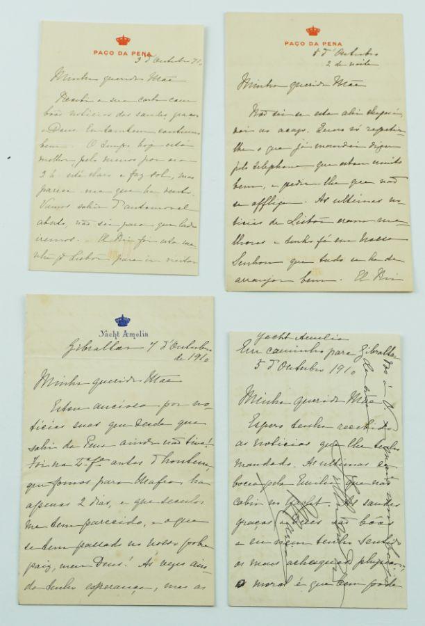 Manuscrito sobre Família Real Portuguesa na saída para o exilio 1910