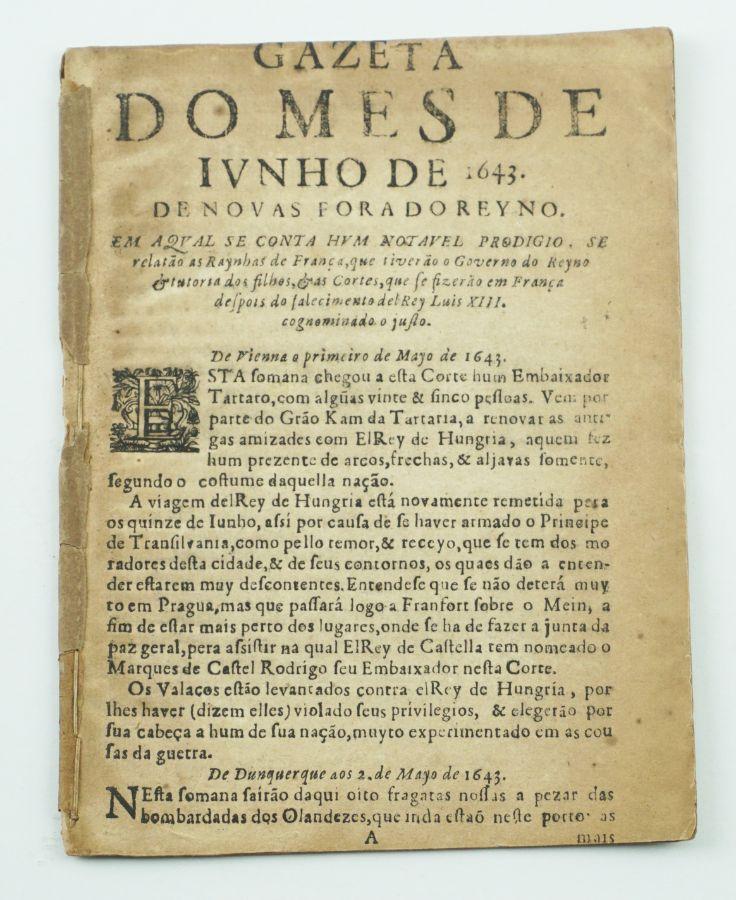 Gazeta da Restauração (primeira publicação Portuguesa)