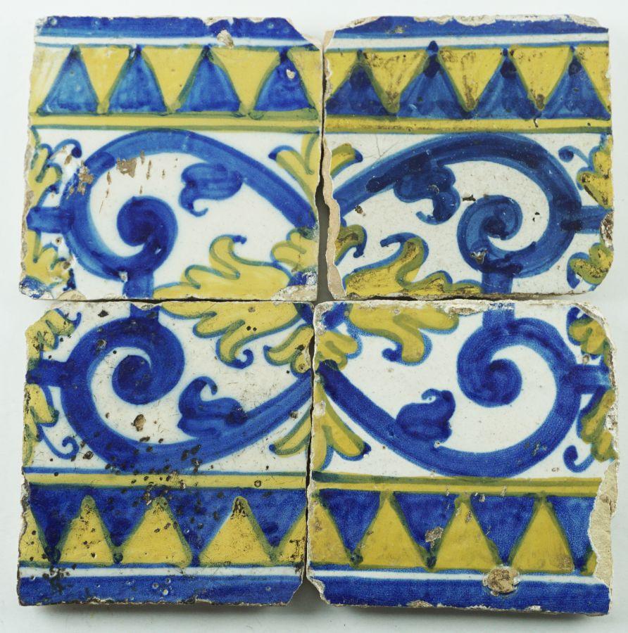 4 Azulejos do séc. XVII/XVIII