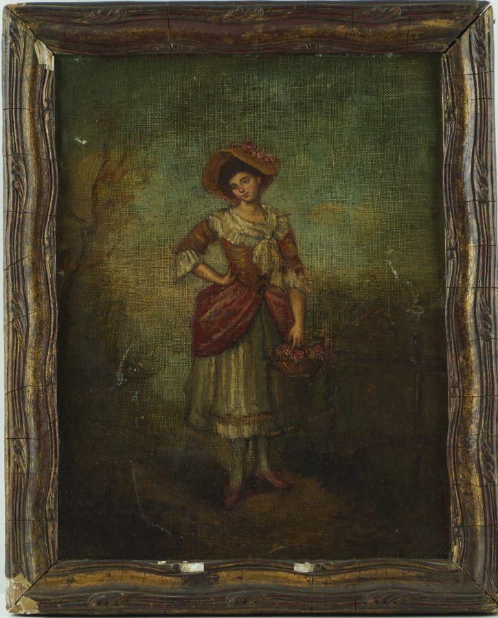 Mulher com cesto de flores