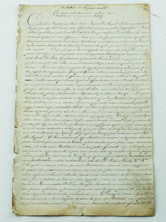 Manuscrito sobre a revolta do Regimento de Caçadores nº 10 em Viseu