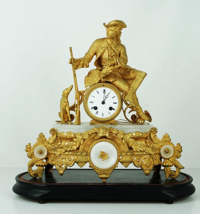 Relógio de mesa em forma de Caçador com cão