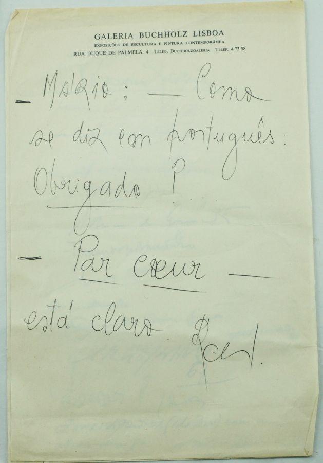 Mario Cesariny – manuscrito Galeria Buchholz Lisboa