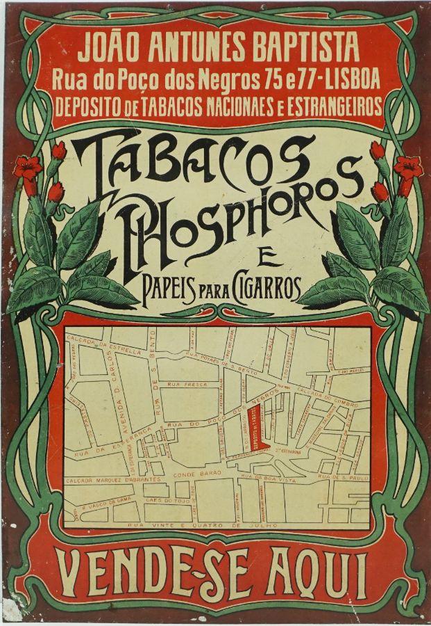 Placa publicitária estilo Arte Nova antiga para venda de Tabacos e afins