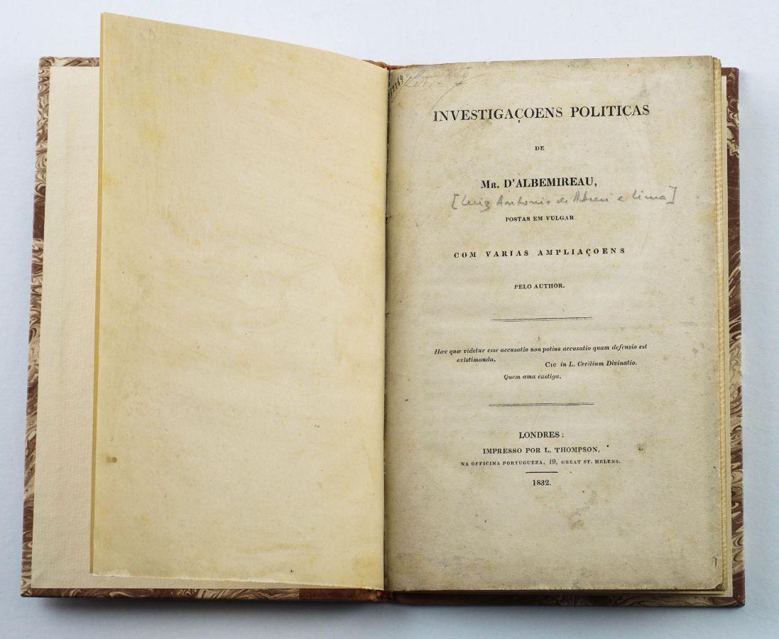 Rara obra liberal publicada na emigração (1832)