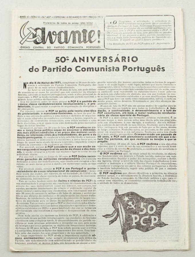 Avante! clandestino comemorativo dos 50 anos do PCP (1971)