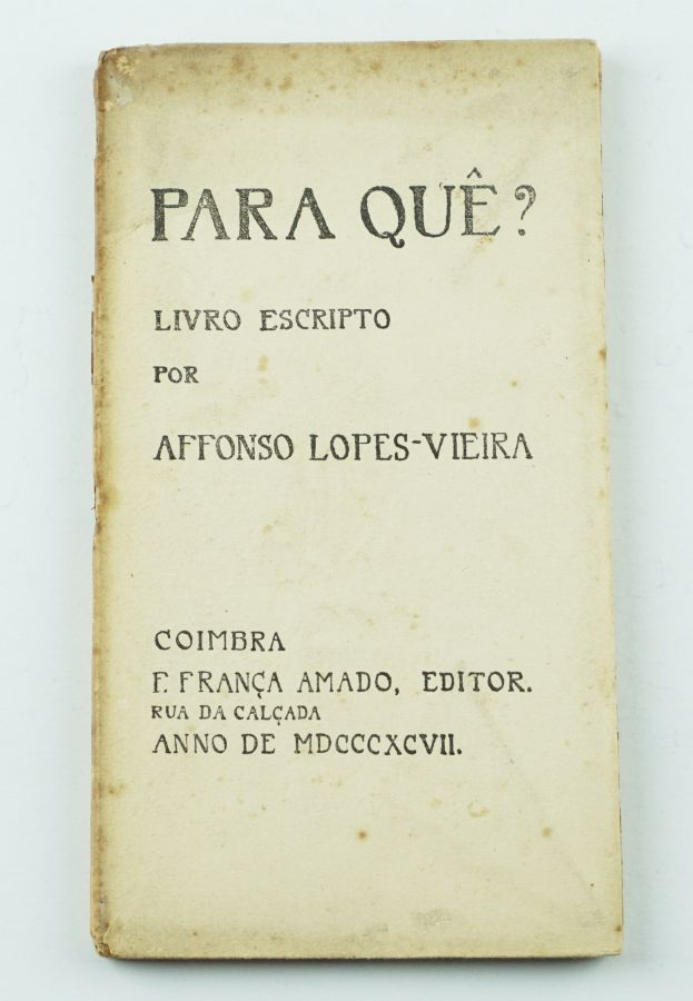 Affonso Lopes-Vieira – Primeiro livro do autor (1898)