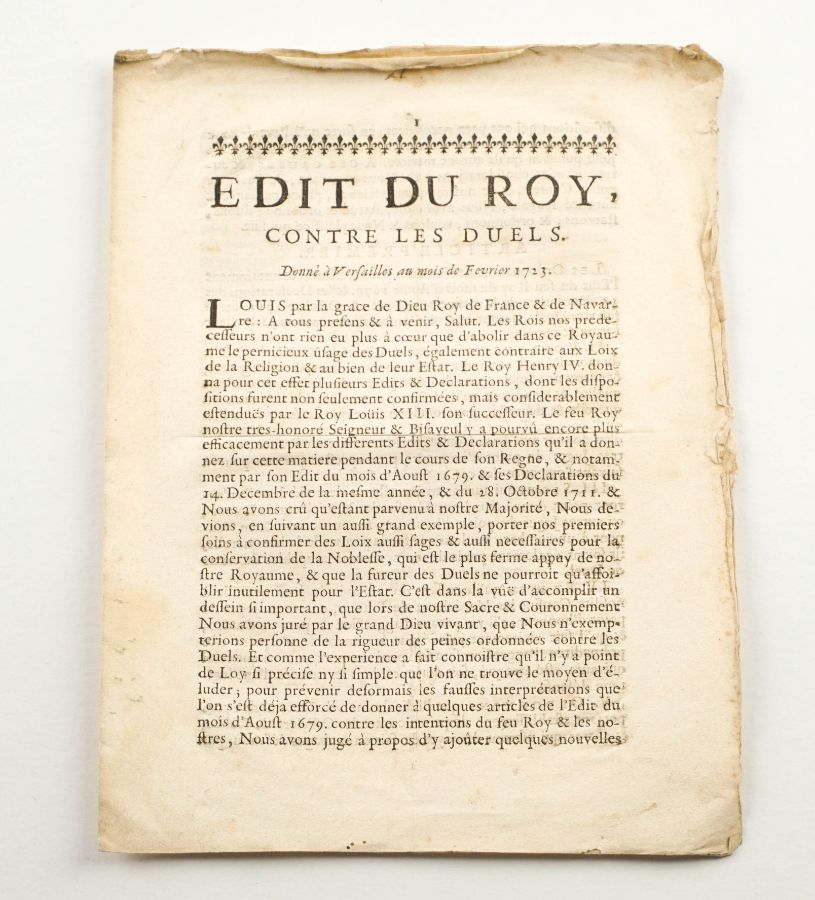 Edit du Roy Contre les Duels- 1723