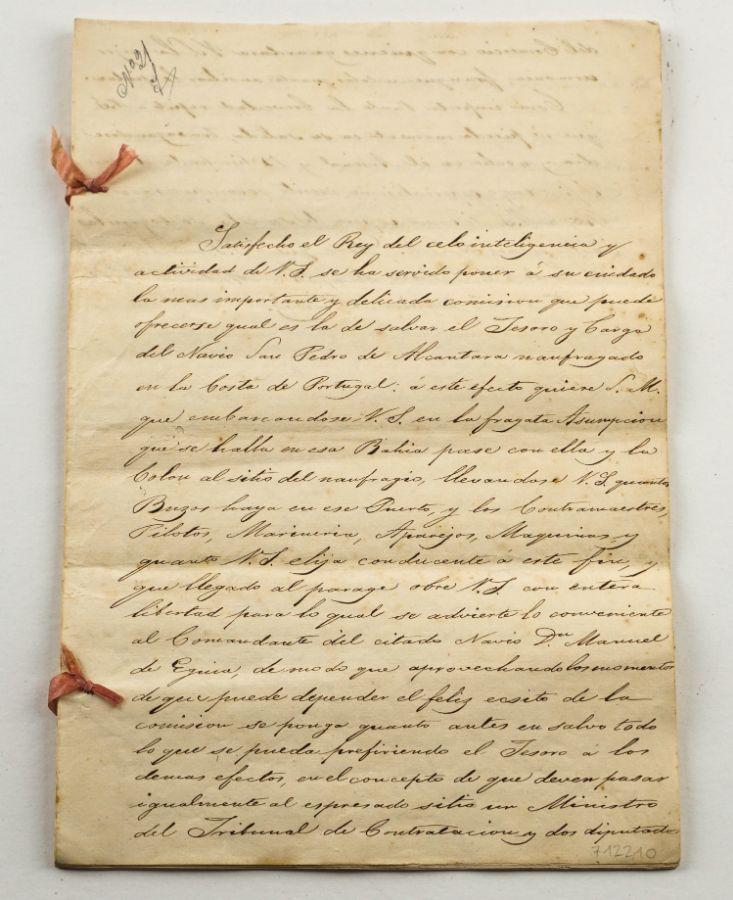 """Importante manuscrito de Naufrágio de galeão Espanhol """"São Pedro de Alcântara"""" em Peniche sec XVIII"""