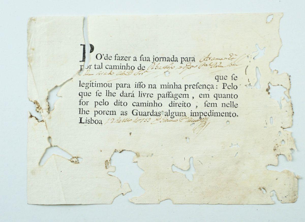 Salvo conduto português sec XVIII