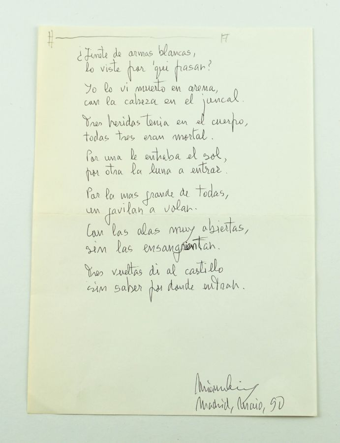 Manuscrito Mário Cesariny