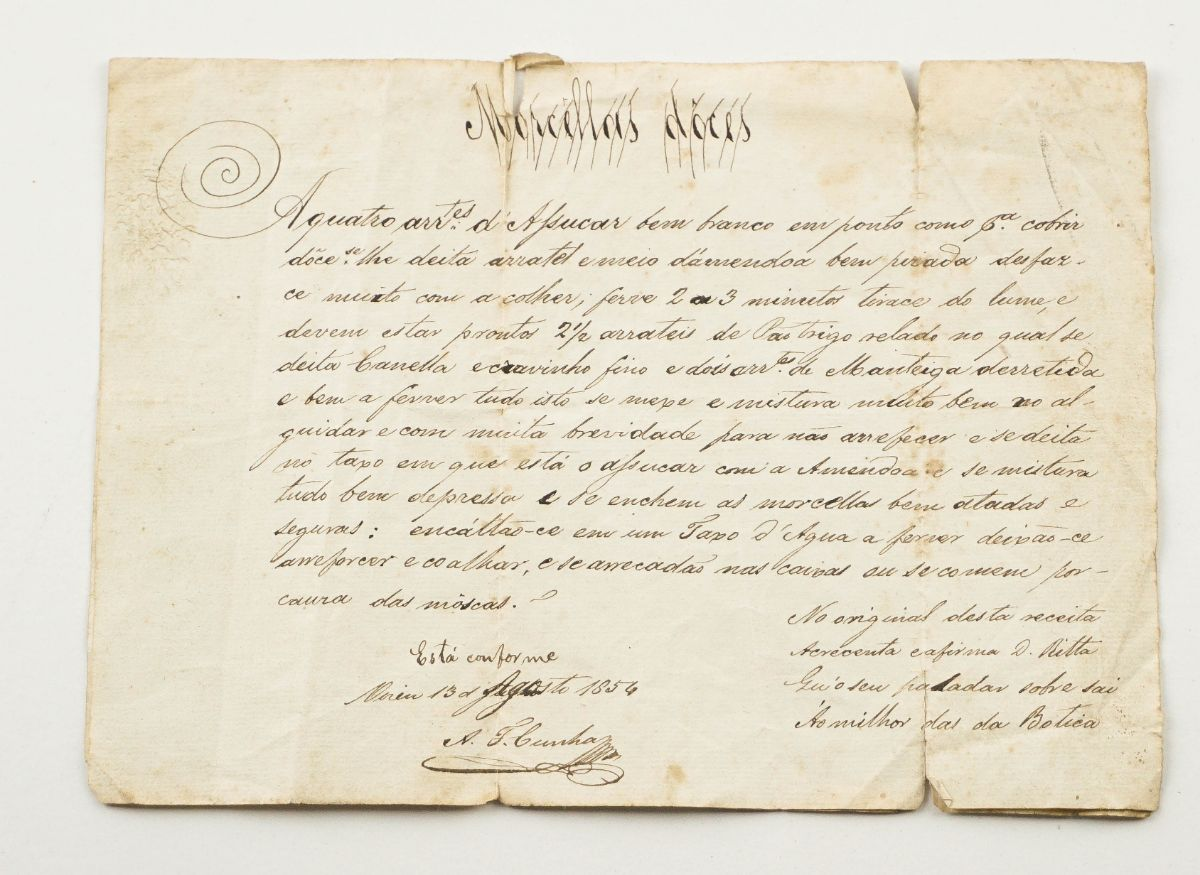 Receita de morcelas doces – 1854.