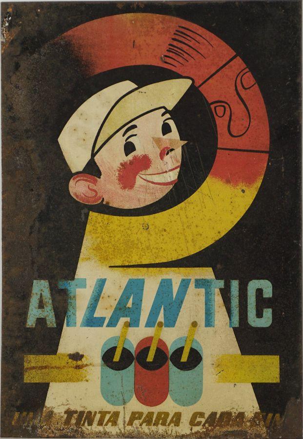Chapa publicitária para a marca Atlantic (tintas e vernizes)