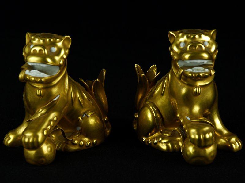 Par de Cães Foo em Porcelana