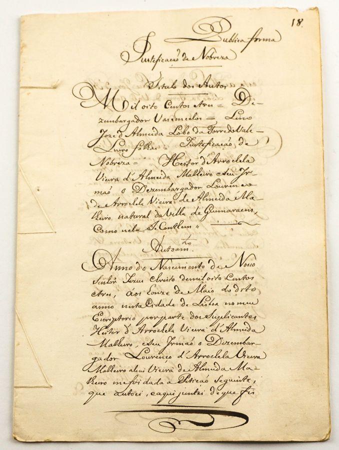 Heraldica - Manuscrito de Justificação de Nobreza da família Arrochela