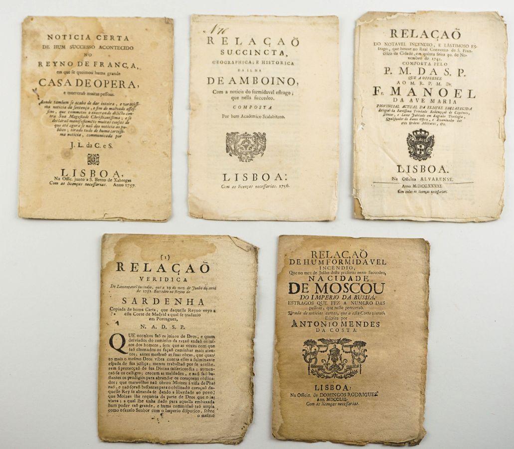 Colecção de Folhetos do sec XVIII sobre incêndios e catástrofes