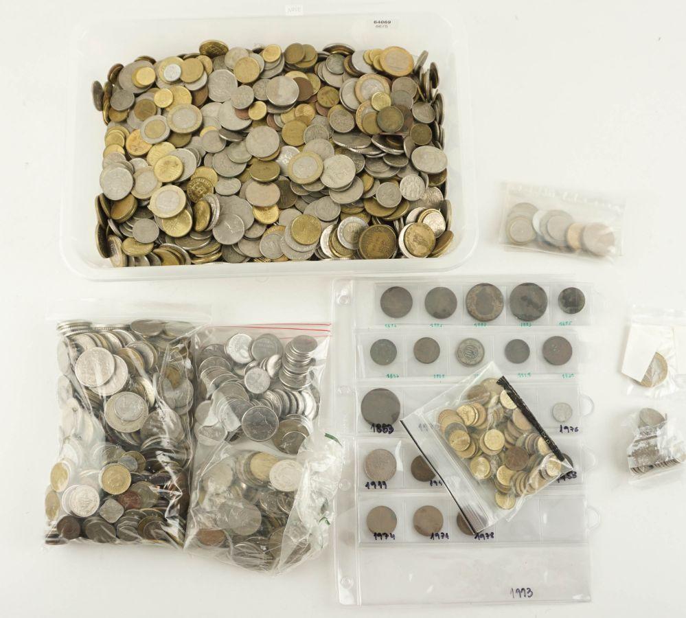 Grande coleção de vários milhares de moedas de Portugal