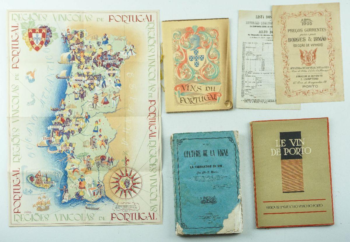 Livros, Folhetos e cartaz sobre vinho, séc. XIX e XX
