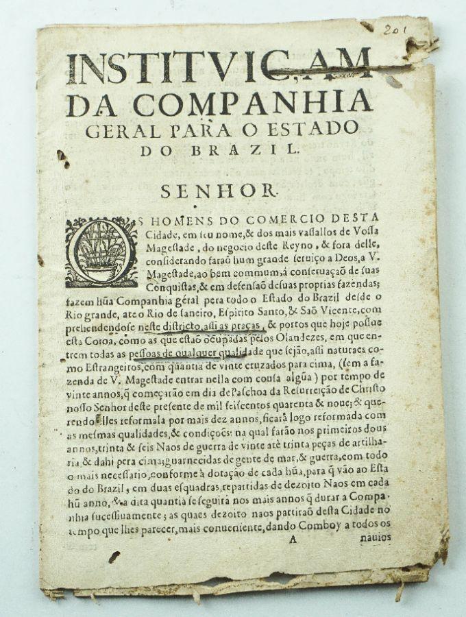 Importante Documento sobre o Brasil publicado em 1649