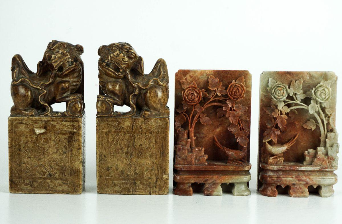 2 Pares de Esculturas Chinesas